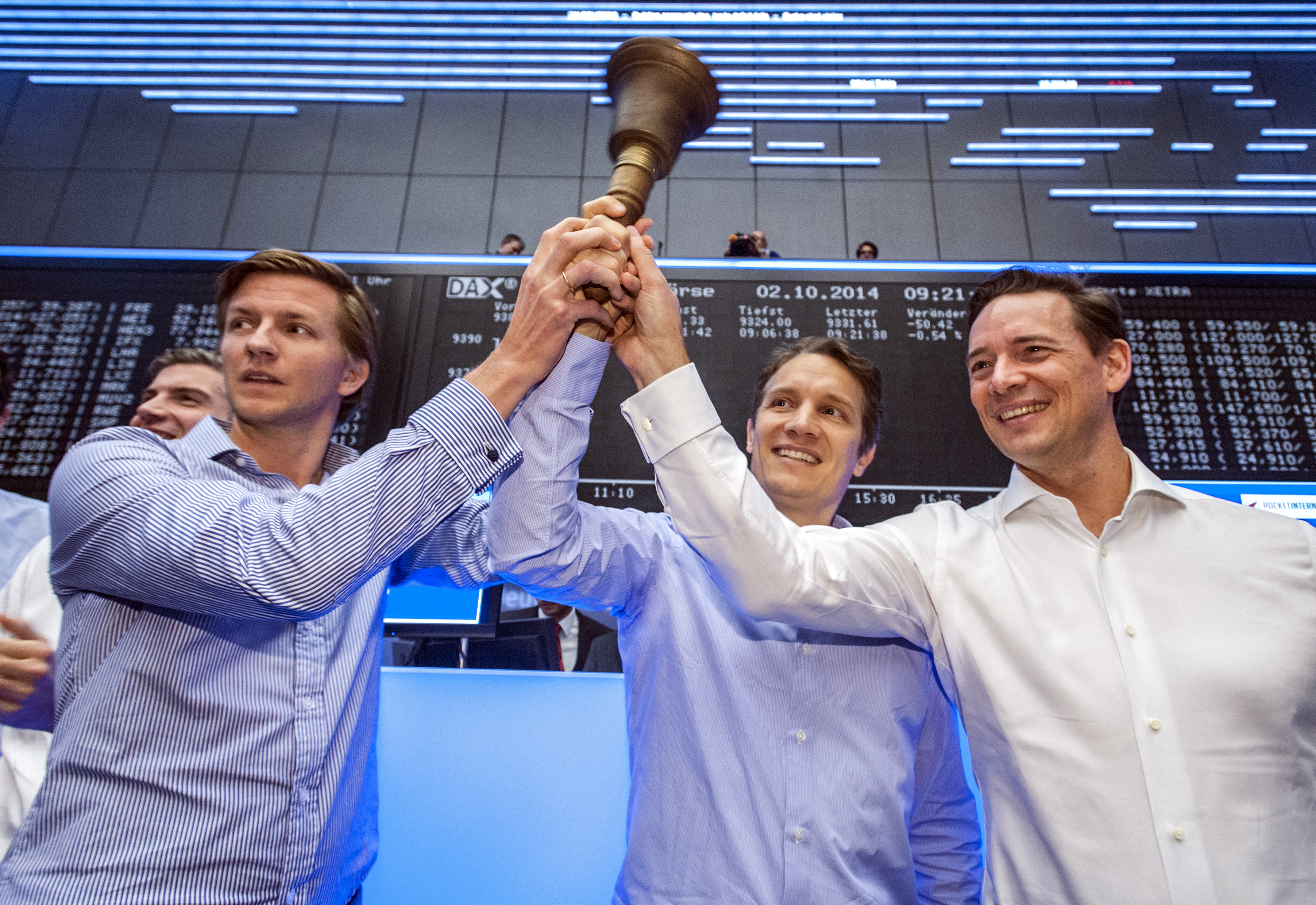 Die Rocket Internet-Manager Alexander Kudlich, Oliver Samwer und Peter Kimpel beim Börsenstart.