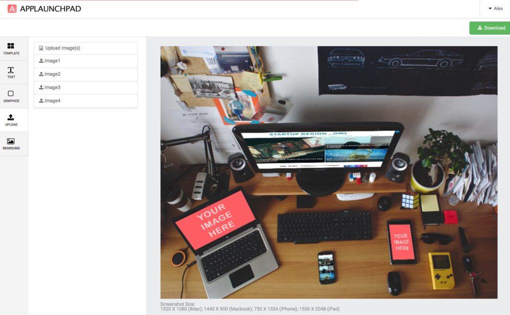 Mockup Generator in AKtion mit einem Screenshot der StartupregionOWL Webseite