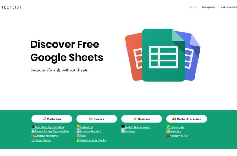 Google Sheets für Startups - Sheetlist